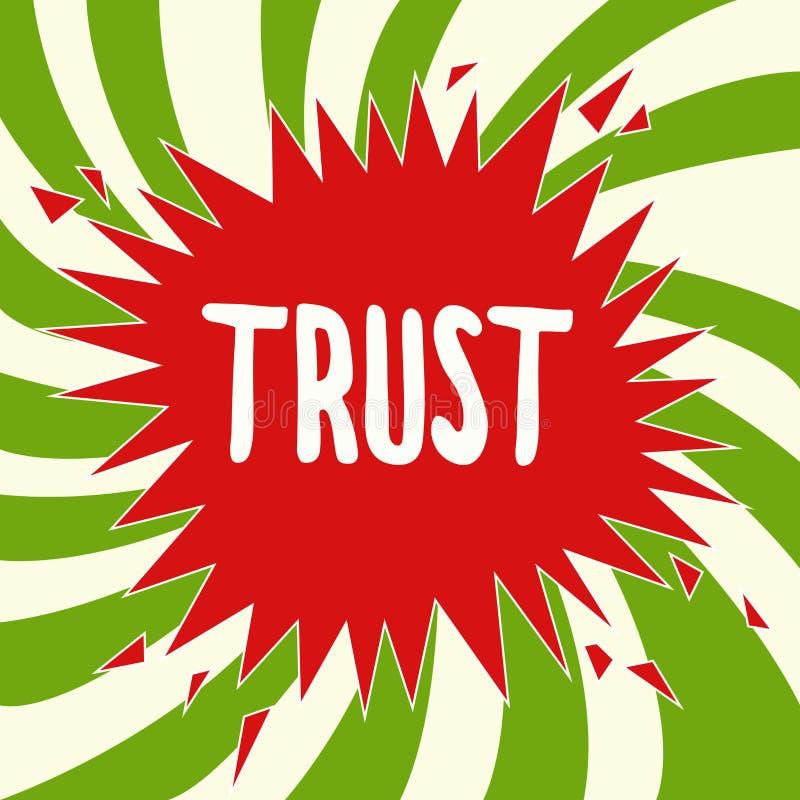 Conviction profonde de signification de concept de confiance d'écriture des textes d'écriture dans la vérité ou la capacité de fi illustration stock