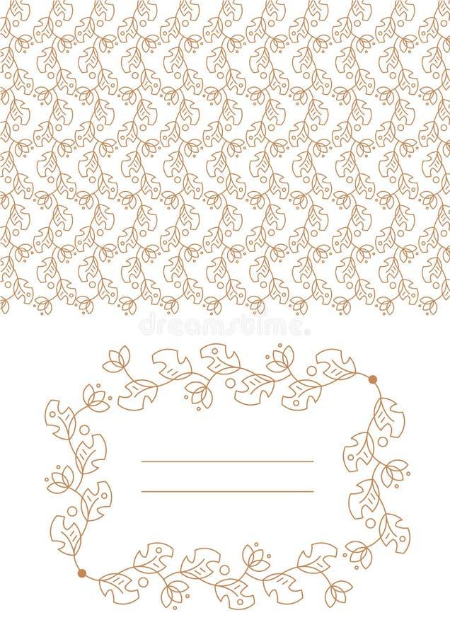Convite à celebração, propagação, teste padrão floral dourado ilustração royalty free