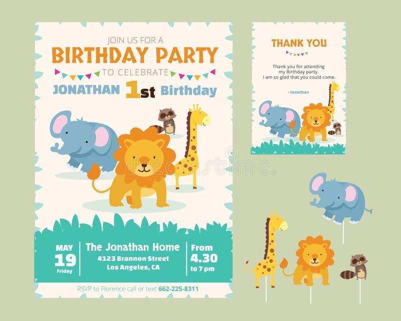 Convite animal bonito da festa de anos do tema ilustração stock