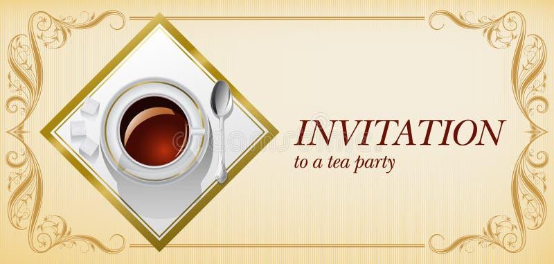 Convite ao tea party ilustração do vetor