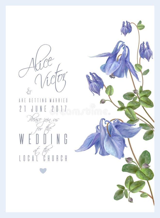Convite azul da flor ilustração do vetor