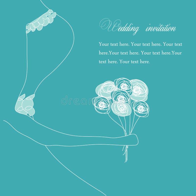 Convite azul do casamento ilustração do vetor