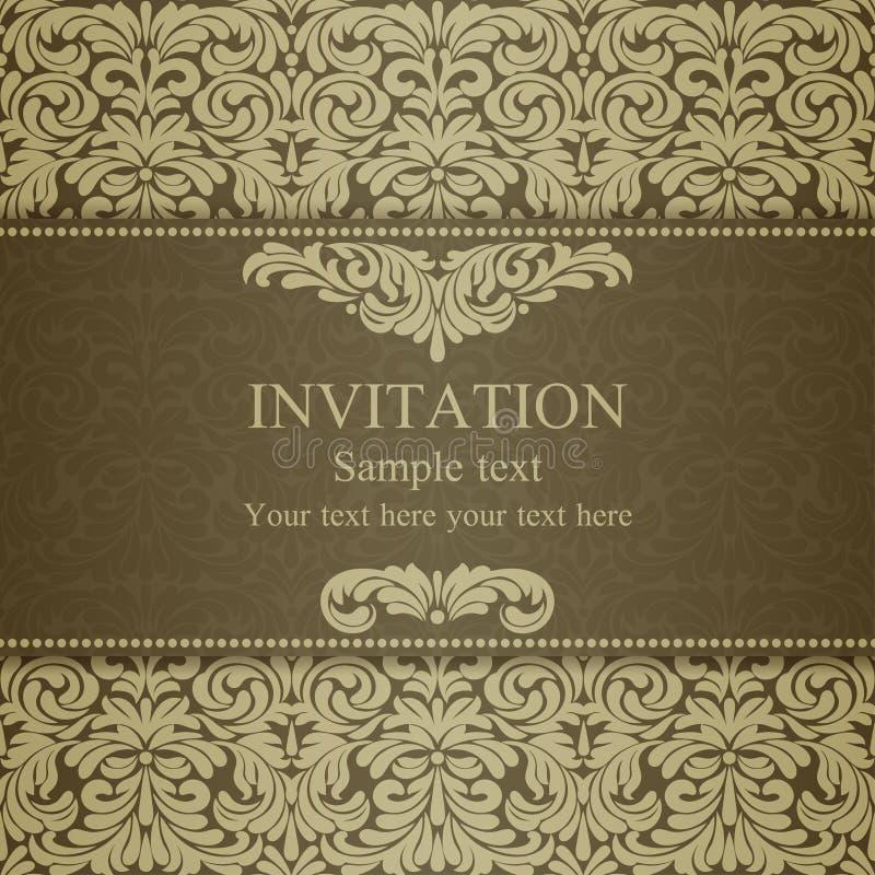 Convite barroco, ouro maçante ilustração do vetor