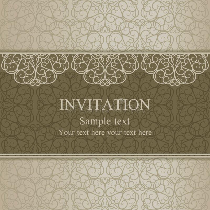 Convite barroco, ouro maçante ilustração stock