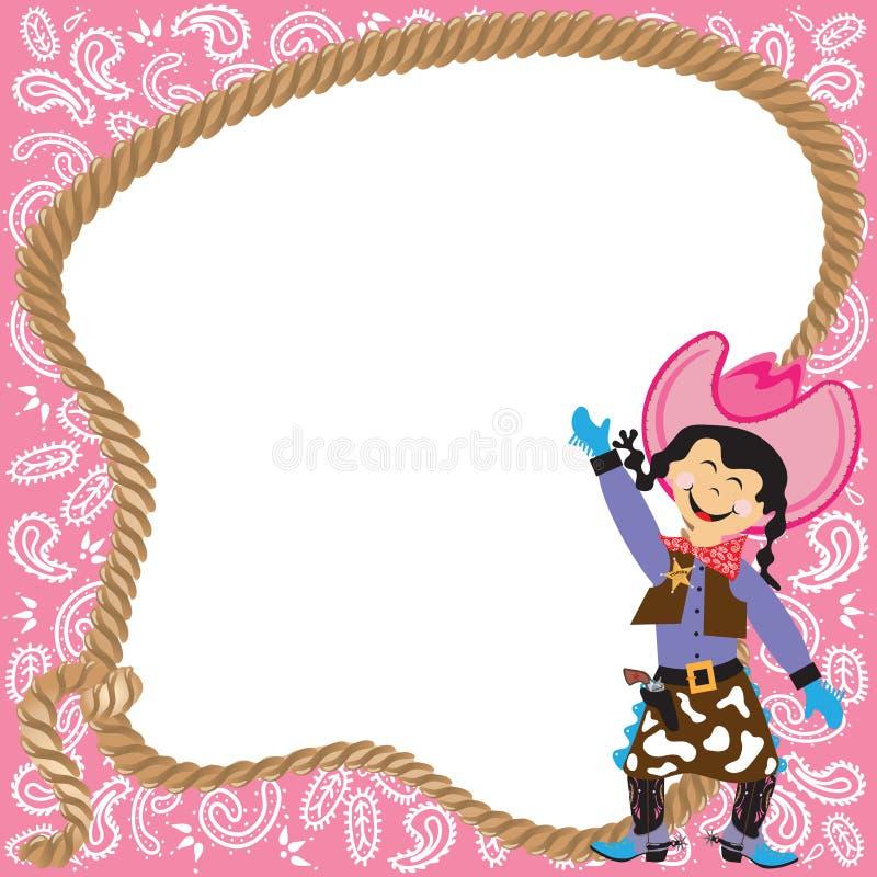 Convite bonito da festa de anos do Cowgirl ilustração stock