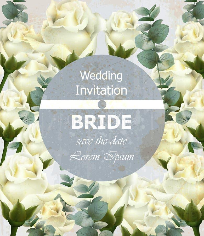 Convite bonito do casamento com as flores das rosas brancas Cartão floral do vetor da aquarela luxuoso Projetos da decoração do v ilustração royalty free