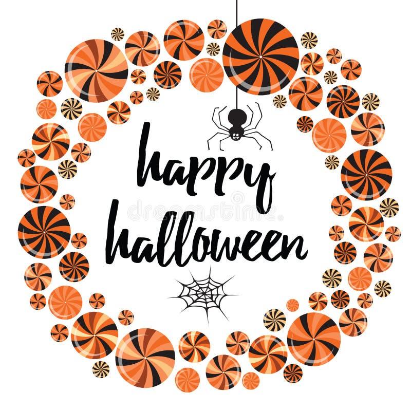 Convite bonito do Dia das Bruxas ou molde do cartão com doces e pirulitos dos desenhos animados ilustração do vetor