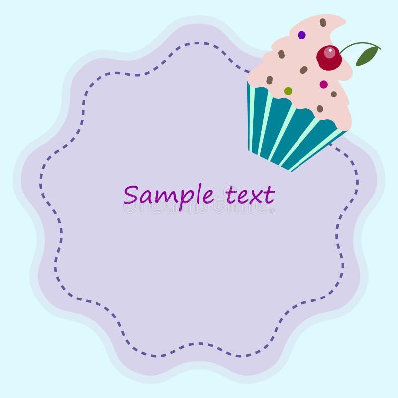 Convite bonito, molde do logotipo do cartão com queque ilustração stock