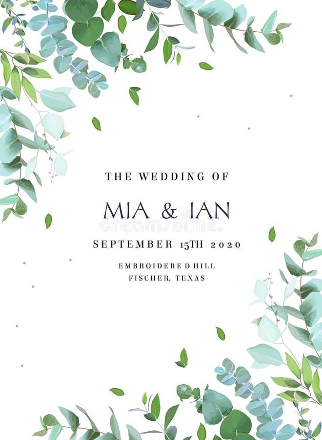 Convite botânico do casamento das hortaliças ilustração do vetor