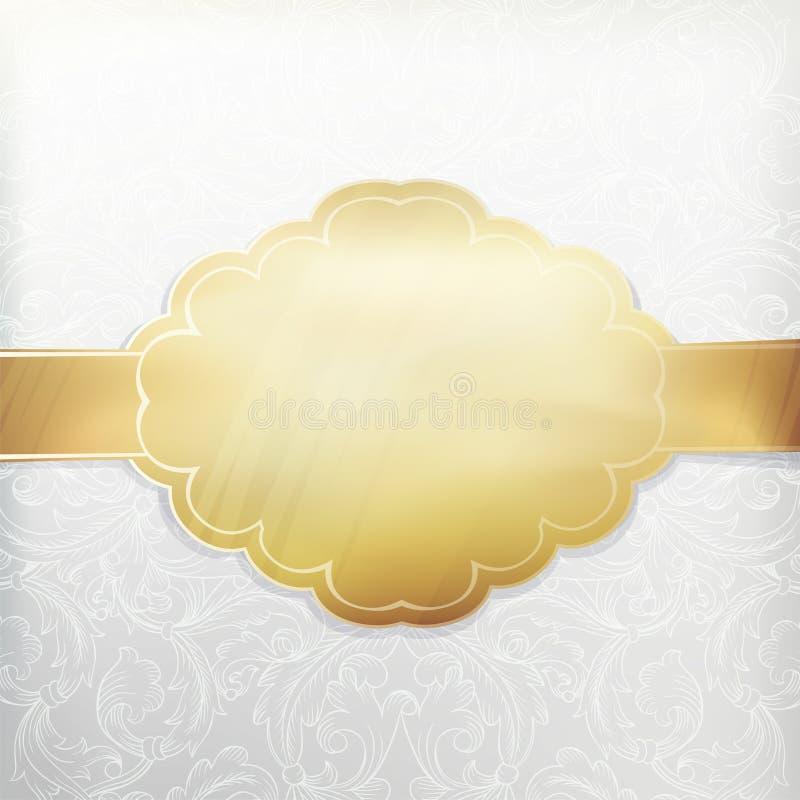 Convite branco do vintage com etiqueta dourada ilustração royalty free