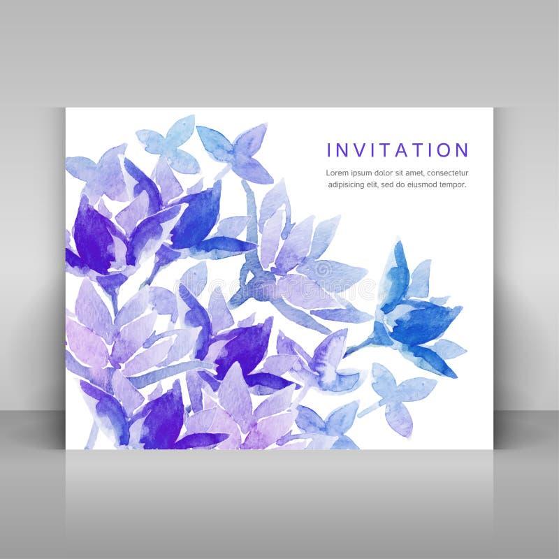 Convite com as flores azuis da aquarela ilustração stock