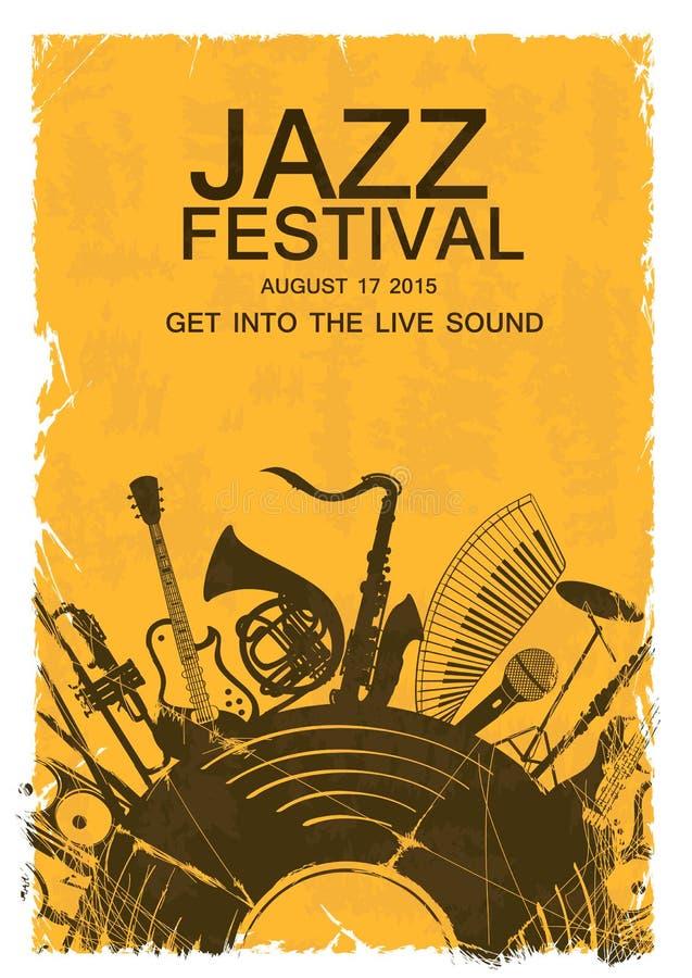 Convite com instrumentos musicais e registro de vinil ilustração royalty free