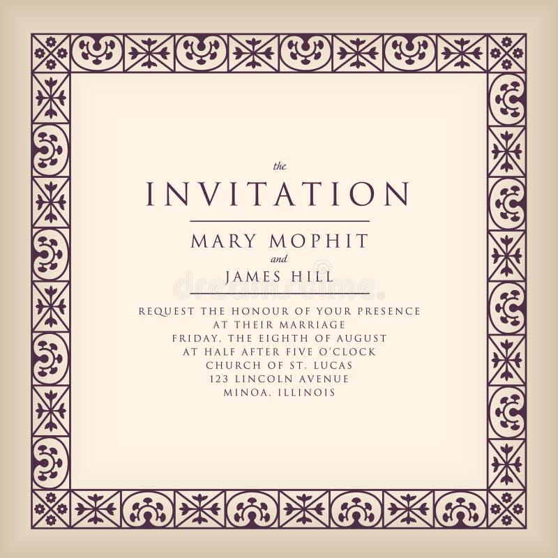Convite com quadro da beira no estilo do renascimento Fram do molde ilustração stock