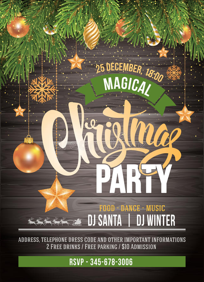 Convite da festa de Natal ilustração stock