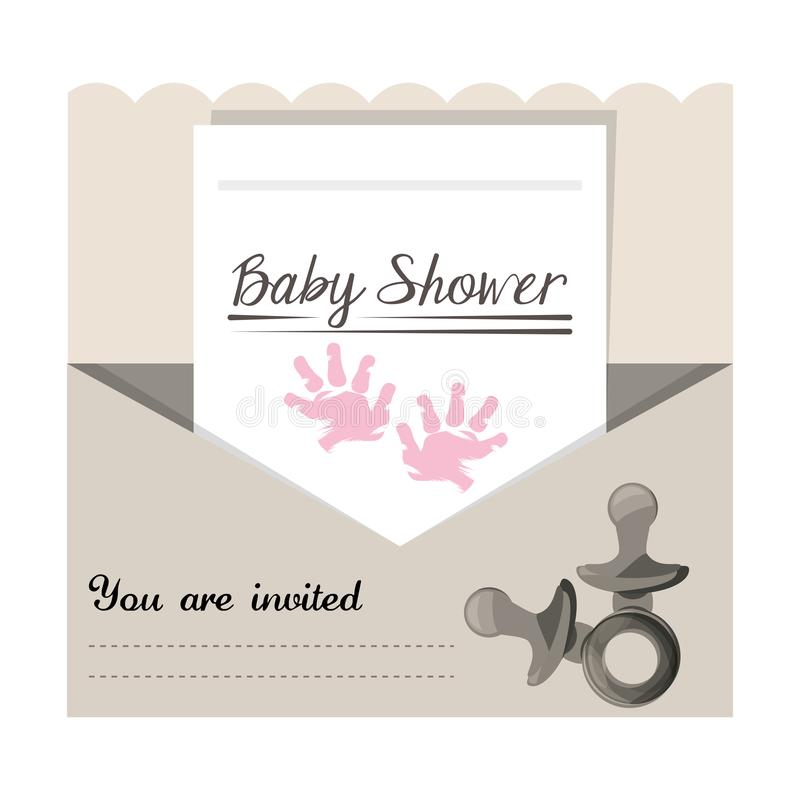 Convite da festa do bebê à boa vinda do presente a criança ilustração stock