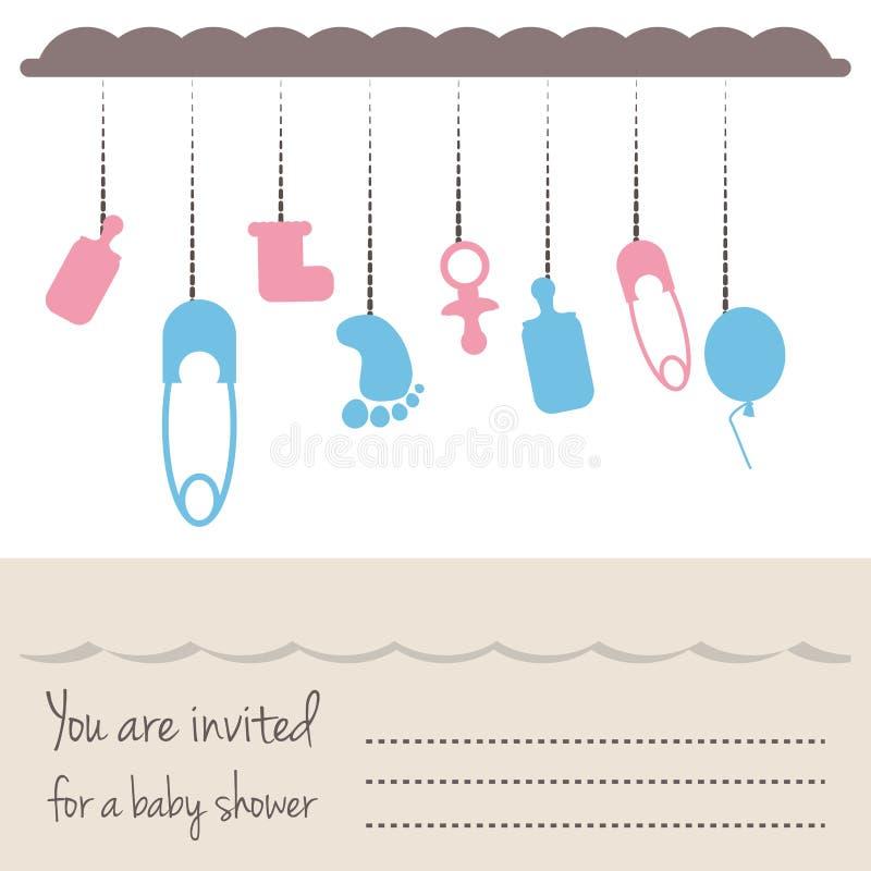 Convite da festa do bebê à boa vinda do presente a criança ilustração royalty free