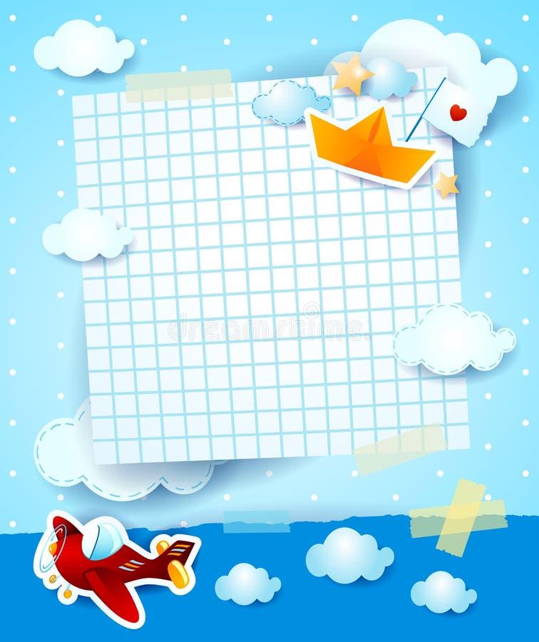 Convite da festa do bebê com o barco do avião e do papel ilustração do vetor