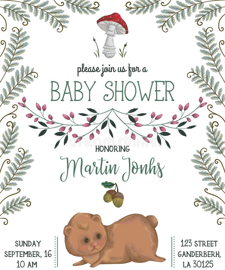Convite da festa do bebê com urso, cogumelo, flores, folhas, samambaia e bolota ilustração royalty free