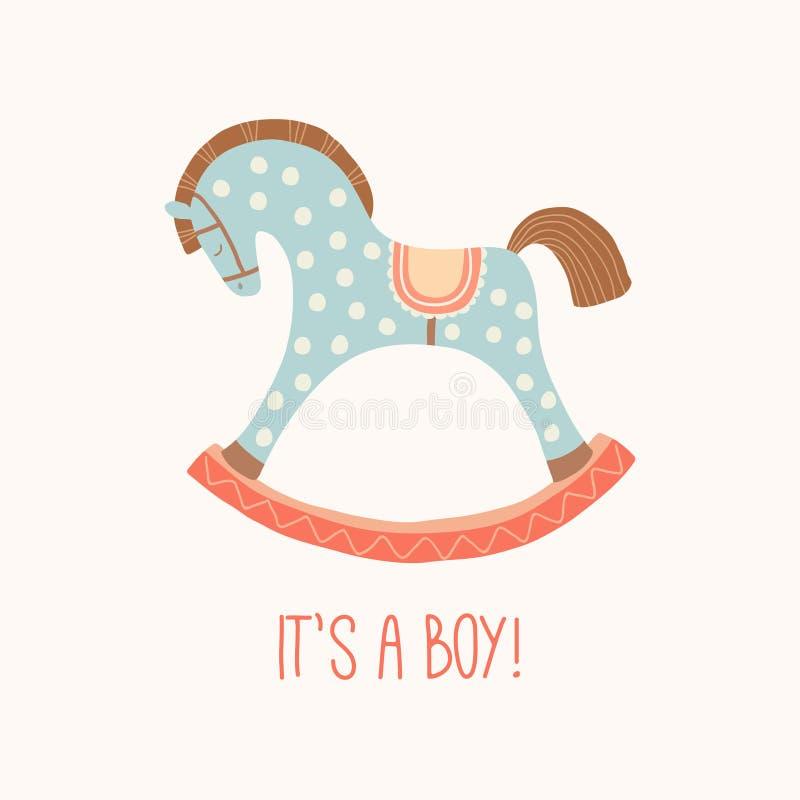 Convite da festa do bebê ele s um menino Cavalo bonito do brinquedo com rodas Primeiros brinquedos das crianças Elemento do proje ilustração do vetor