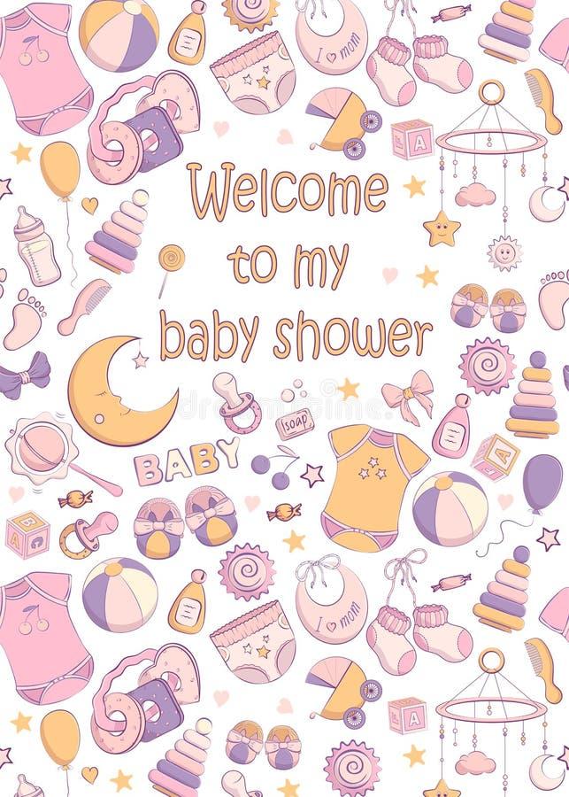 Convite da festa do beb? do vetor ilustração royalty free