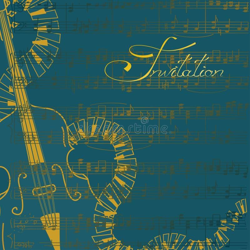 Convite da música com contrabaixo e teclados ilustração do vetor
