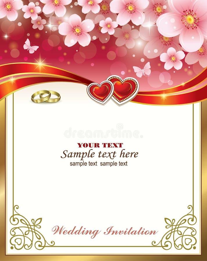 Convite de casamento com corações e anéis Ilustração vetorial ilustração stock