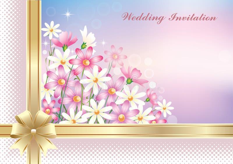 Convite de casamento com fundo floral Ilustração vetorial ilustração stock