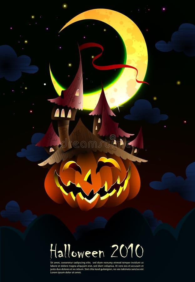 Convite de Halloween   Poster   O castelo assustador cresce ilustração royalty free