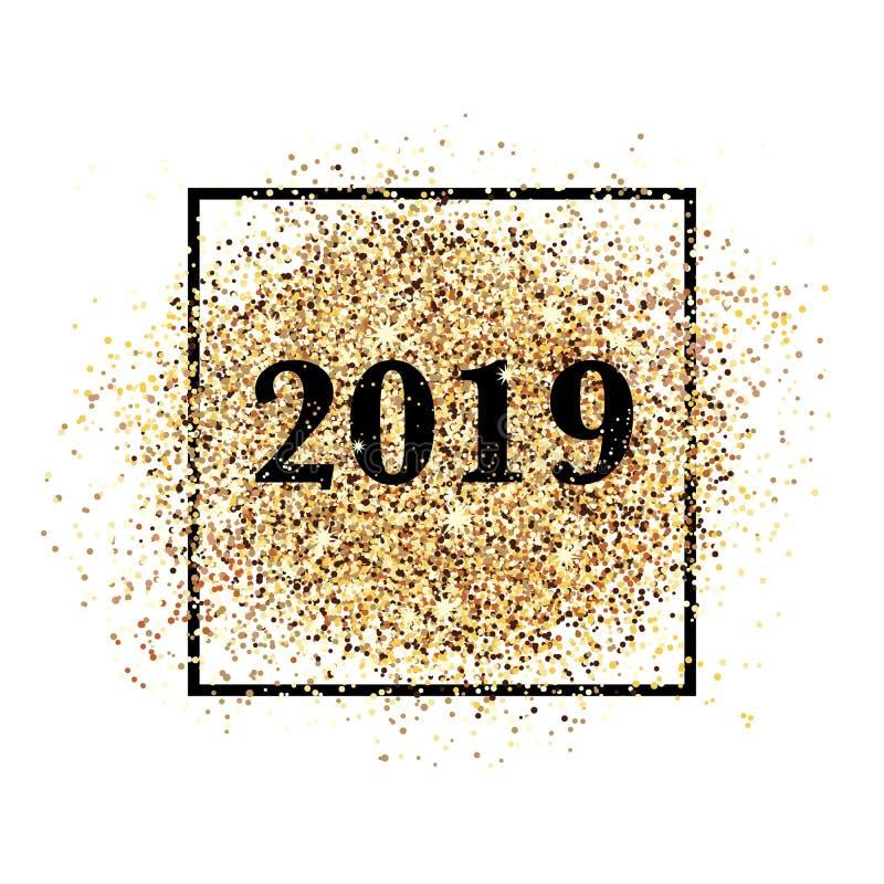Convite do ano 2019 novo feliz para a cópia e a Web ilustração stock