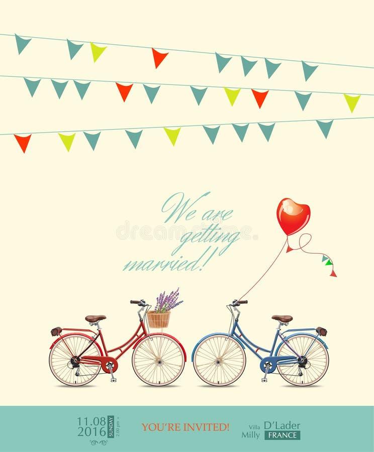 Convite do cartão ao casamento Bicicletas vermelhas e azuis para os noivos Pinos coloridos Balão na forma do coração Vect ilustração royalty free