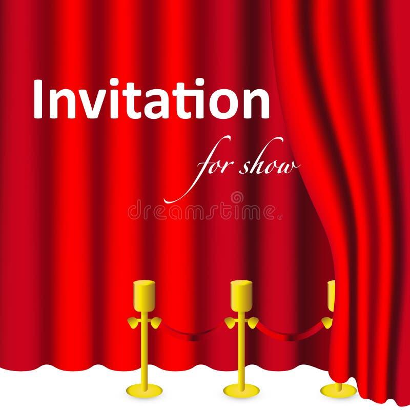 Convite do cartão com cortinas e cortinas vermelhas no fundo branco ilustração royalty free