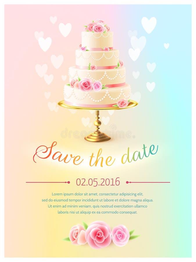 Convite do cartão de casamento com o bolo realístico ilustração royalty free