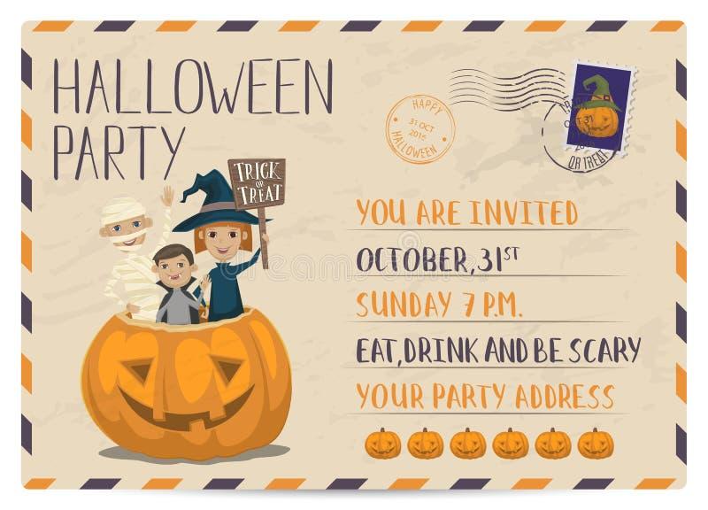 Convite do cartão do vintage do partido de Dia das Bruxas ilustração royalty free