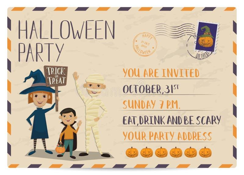 Convite do cartão do vintage do partido de Dia das Bruxas ilustração stock