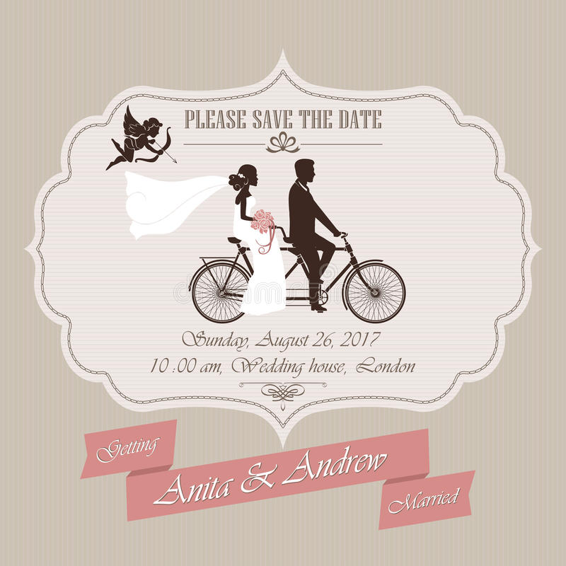Convite do casamento, bicicleta em tandem ilustração stock