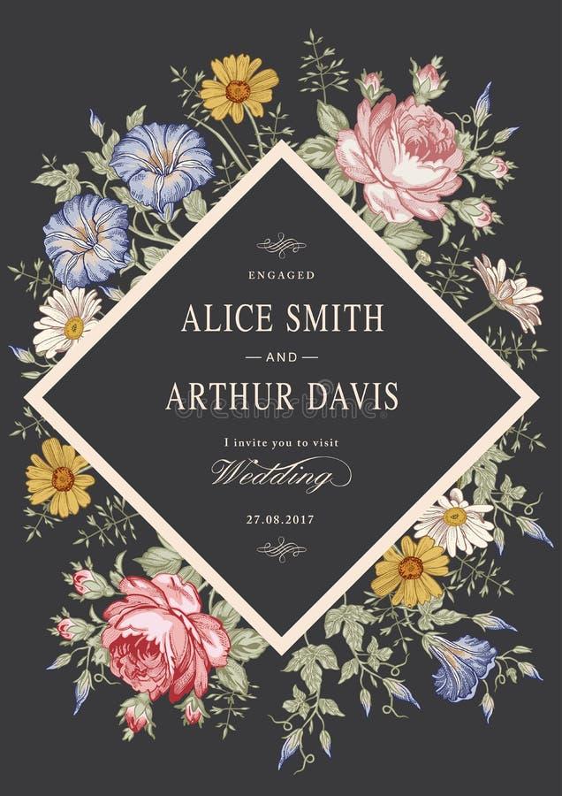 Convite do casamento Cartão realístico bonito de Rosa da camomila das flores Quadro, etiqueta Ilustração do victorian do vetor pe ilustração stock