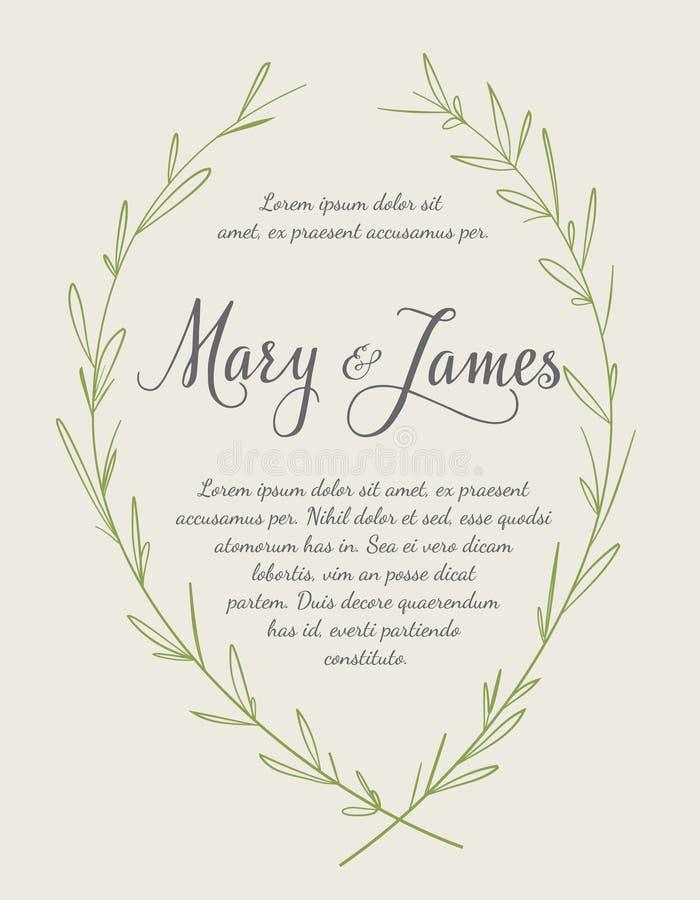 Convite do casamento com as grinaldas tiradas mão do louro Projeto do vintage ilustração royalty free