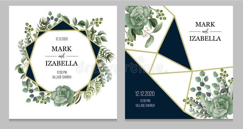 Convite do casamento com elementos das folhas, os suculentos e os dourados no estilo da aquarela Eucalipto, magnólia, samambaia e ilustração royalty free
