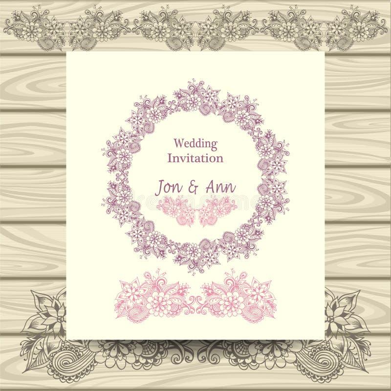 Convite do casamento com elementos florais da garatuja ilustração royalty free