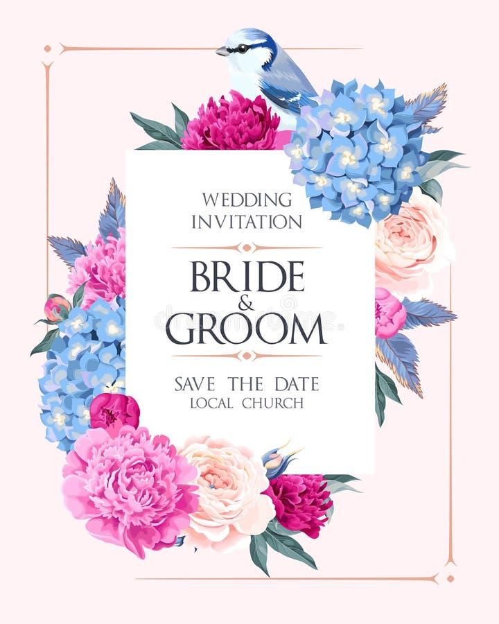 Convite do casamento com flores ilustração do vetor