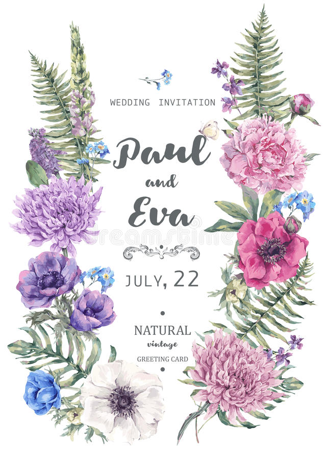 Convite do casamento com a grinalda das anêmonas ilustração royalty free