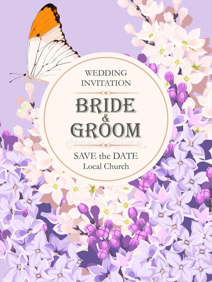 Convite do casamento com lilás ilustração do vetor