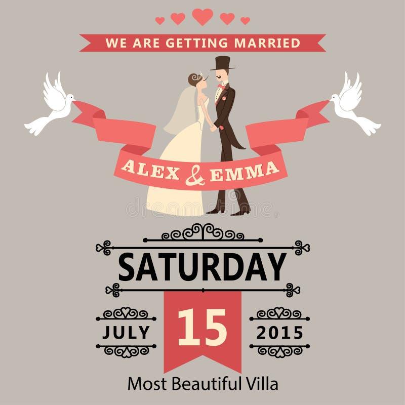 Convite do casamento com noivos dos desenhos animados. Estilo retro ilustração do vetor