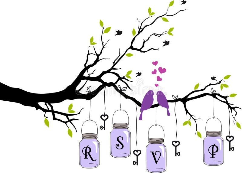 Convite do casamento com pássaros, frascos e chaves, vect ilustração do vetor