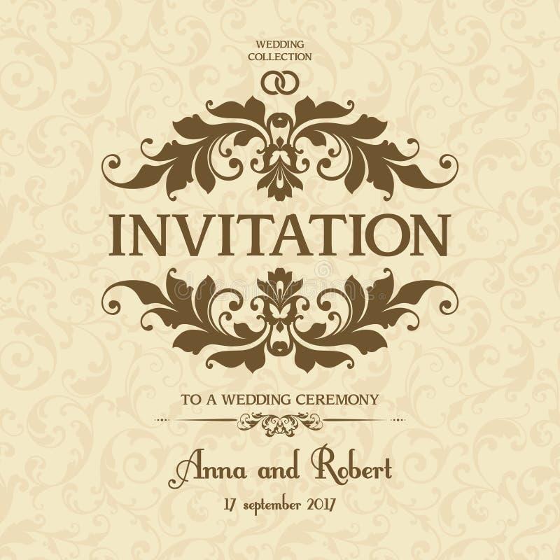Convite do casamento com quadro ornamentado no teste padrão sem emenda da decoração Cartão do cumprimento, fundo do casamento no  ilustração royalty free