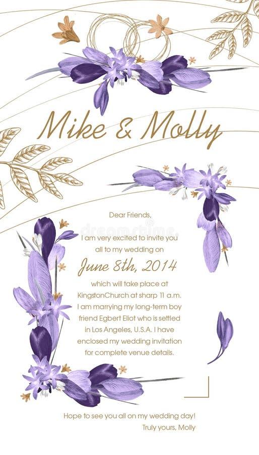 Convite do casamento com quadros violetas florais ilustração stock