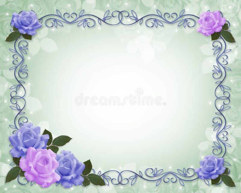Convite do casamento da beira das rosas ilustração do vetor