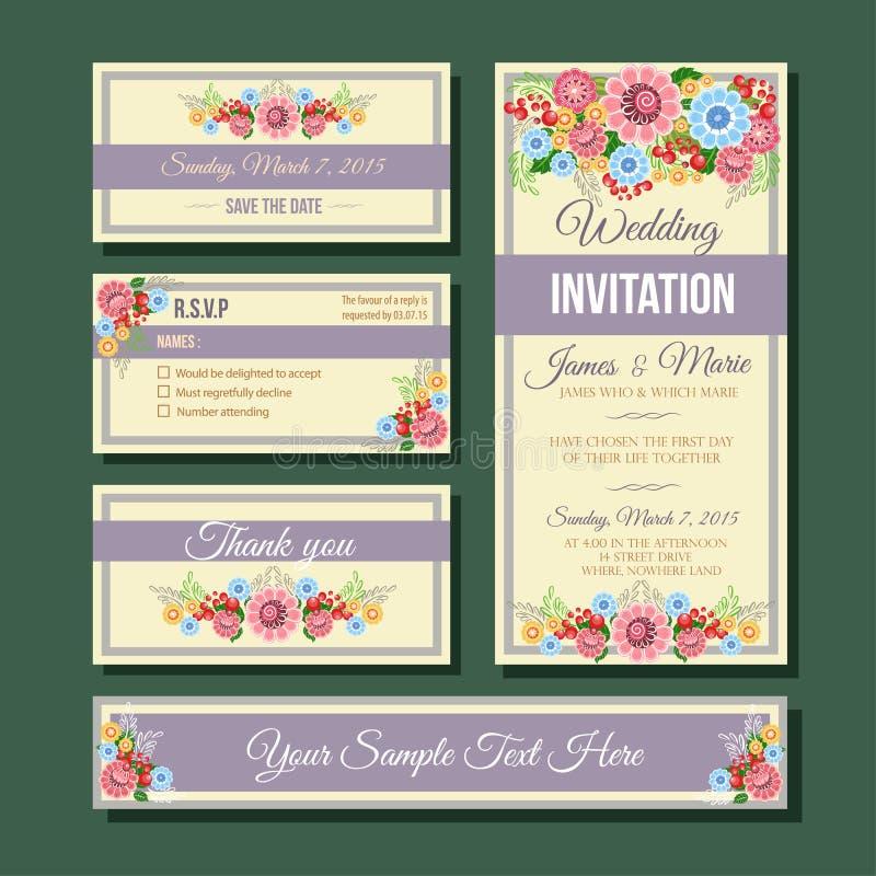 Convite do casamento do molde ilustração do vetor