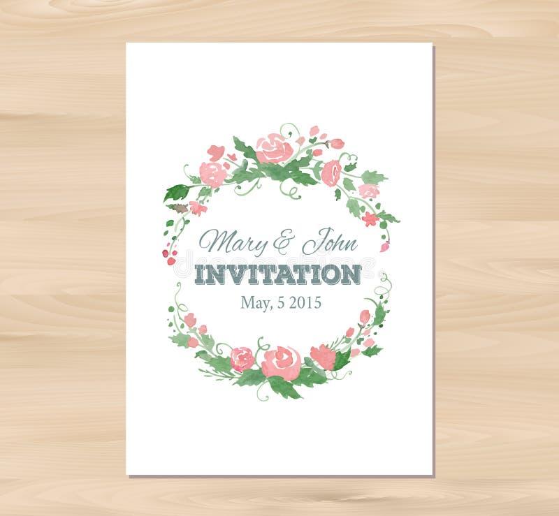 Convite do casamento do vetor com flores da aquarela ilustração do vetor