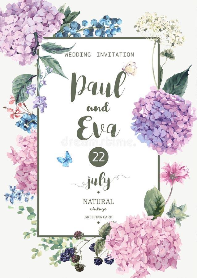 Convite do casamento do vetor com hortênsia ilustração stock